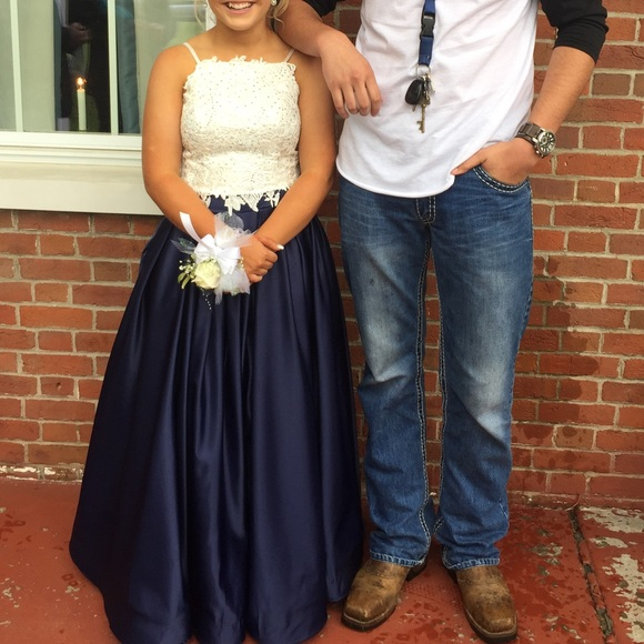 Dave Johnny Dresses Navy Blue And White 2 Piece Prom Dress